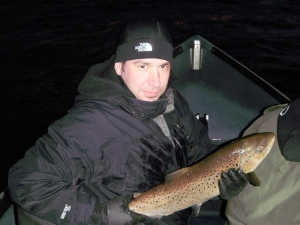 This nice hen Brown Trout hit a yellow with fire dot hot shot will fishing the Oswego River