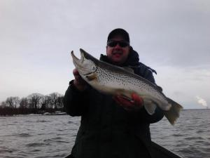 This nice Brown Trout hit in about 9 feet of water on a Jointed Rapala
